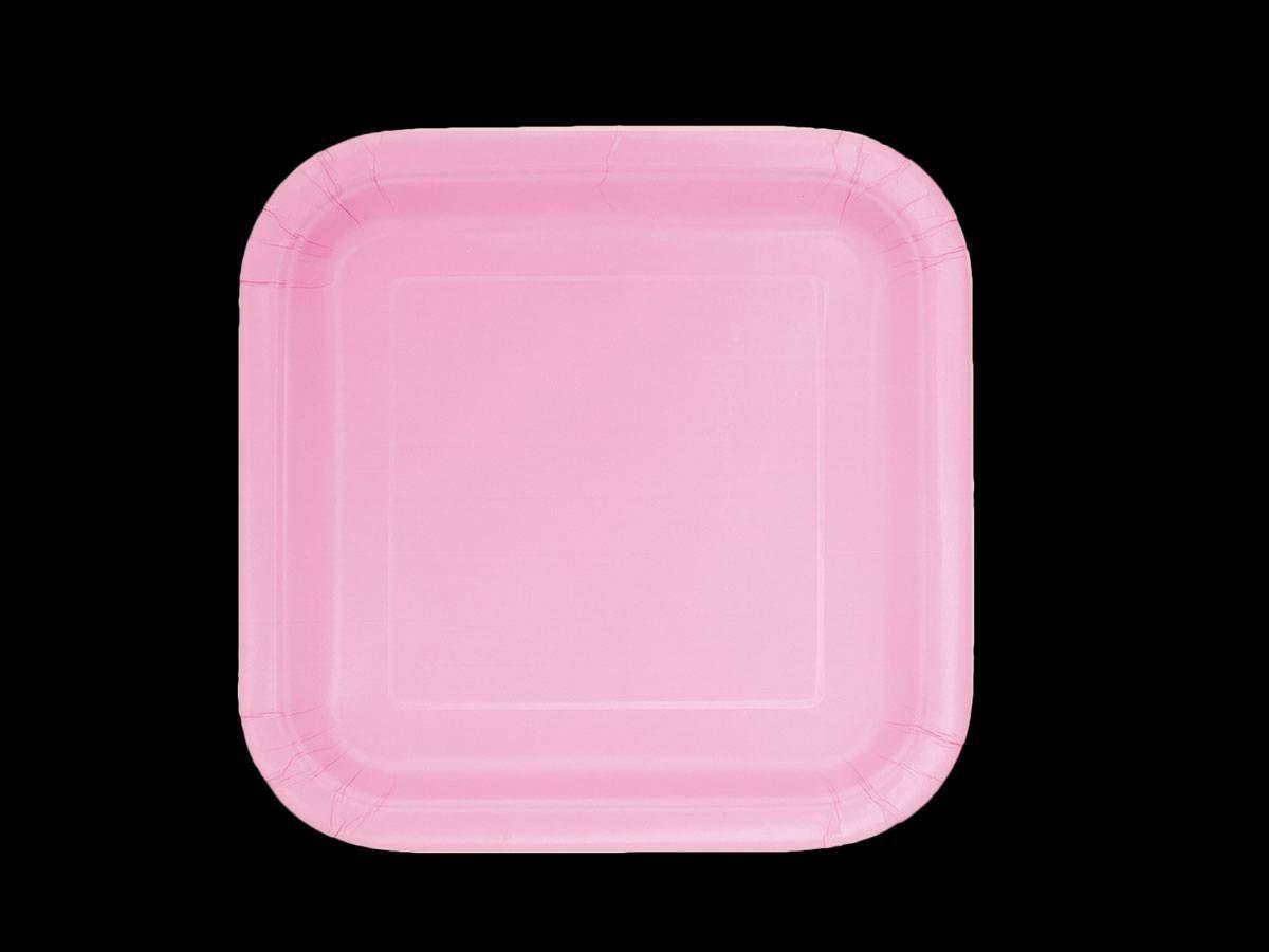 16 Assiettes dessert carrée rose - Thema-Deco