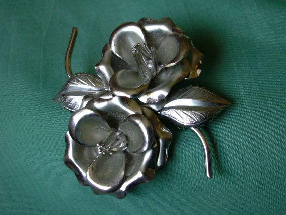 Large Silver Tone Double Flower Brooch by dazzledbyvintage on Etsy