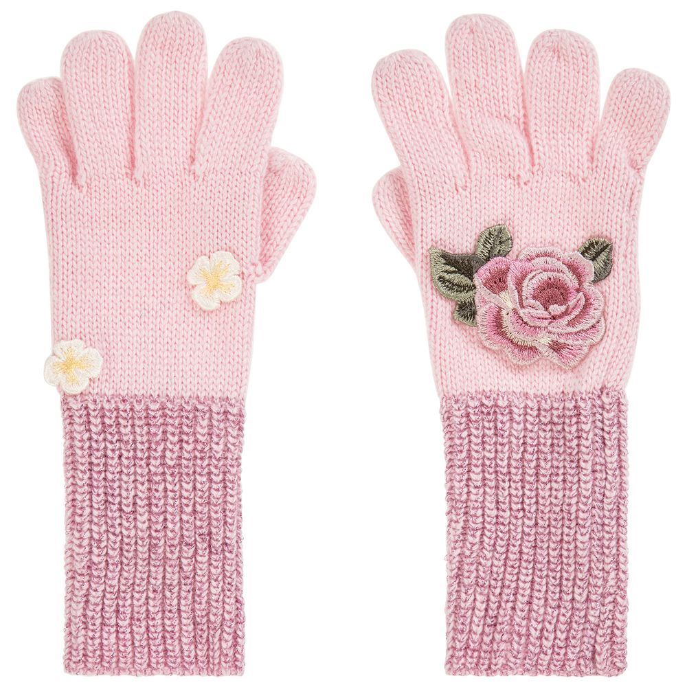 3012eb5c8b4ca Girls Pink Knitted Gloves for Girl by Monnalisa Bimba. Discover more  beautiful designer Gloves