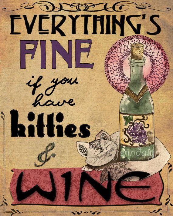 Kitties wine paper print wine poster cats wine Gifts for kitchen lovers