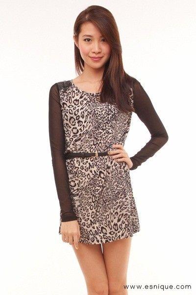 Animal Print Mesh Sleeve Dress - Esnique