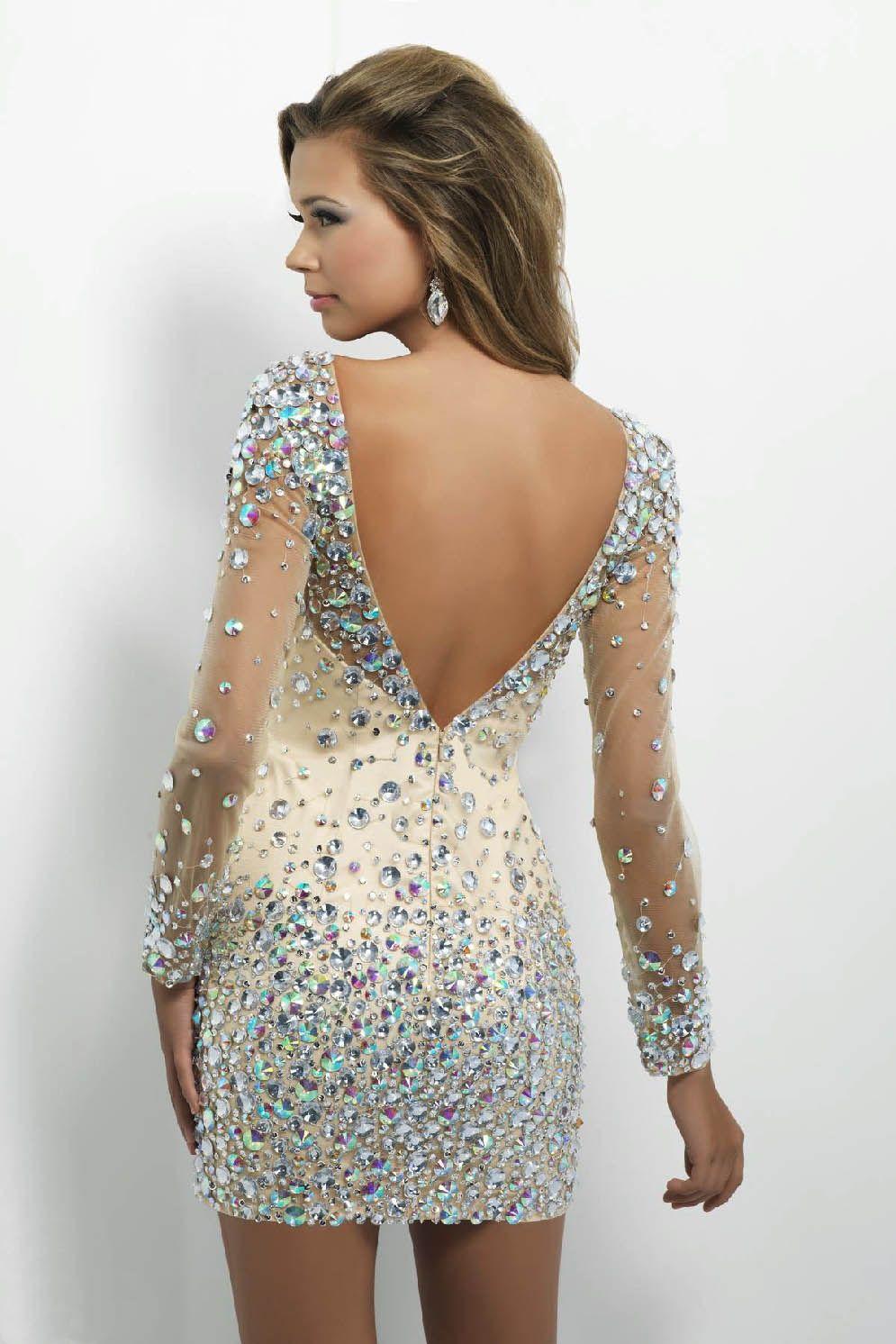 SPARKLY NUDE AURORA BOREALIS CRYSTAL MINI/ KNEE/ FLOOR LENGTH DRESS ...