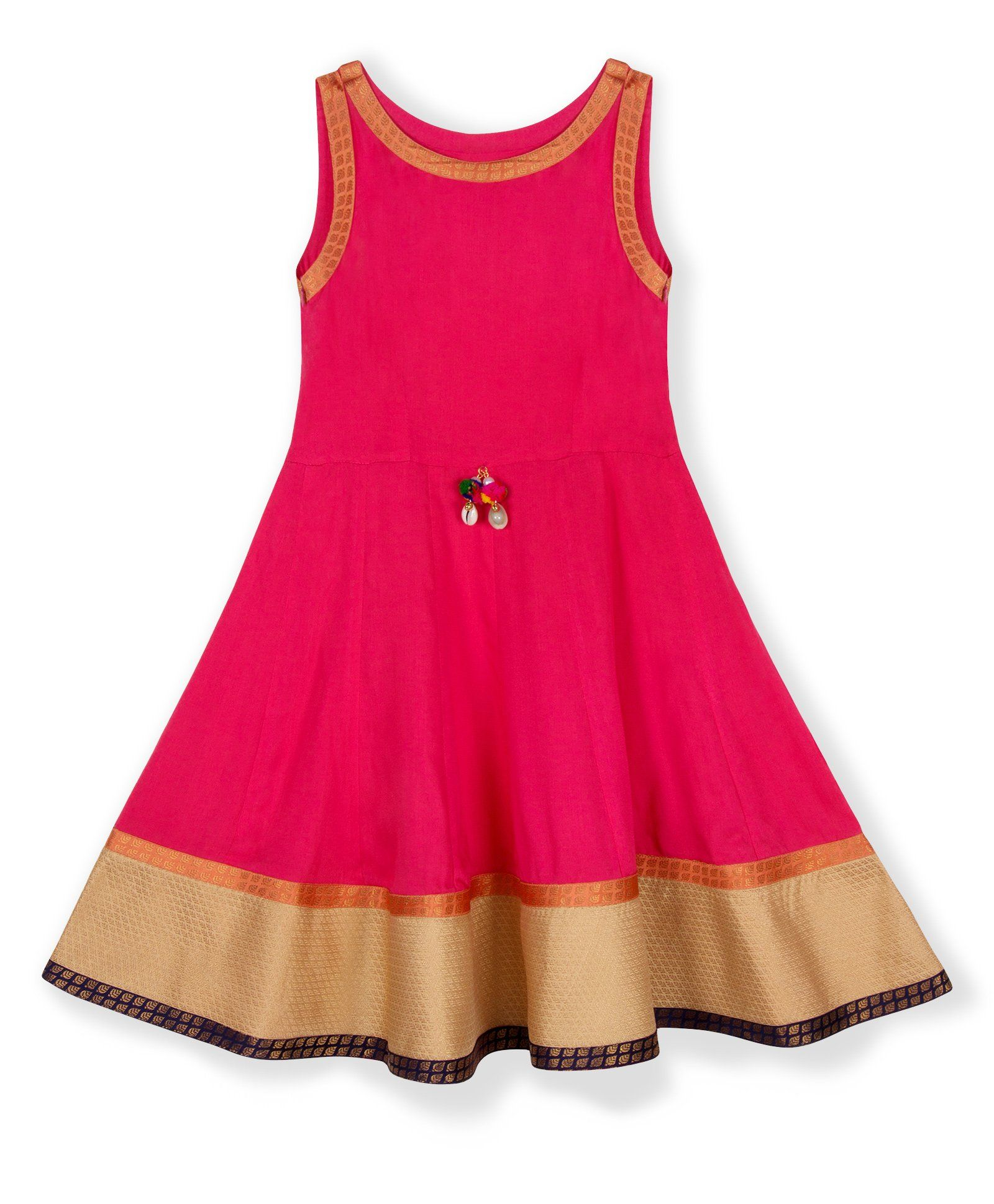 7e63bc0b8 Buy Silverthread Anarkali Style Indo Western Dress Pink for Girls (7-8  Years)
