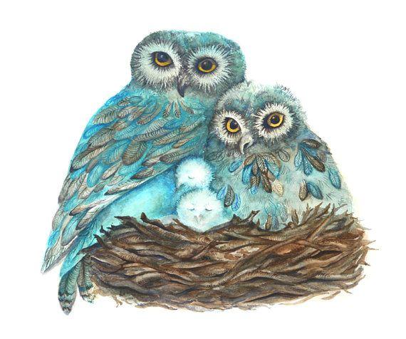 Chouette Impression De Peinture Fiers Pas Cadeau Fête Des Mères Bleu Turquoise
