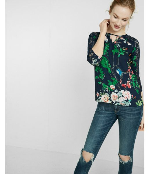 0f5891547a4bc5 Spring Garden Keyhole Lace Blouse Blue Women s Small
