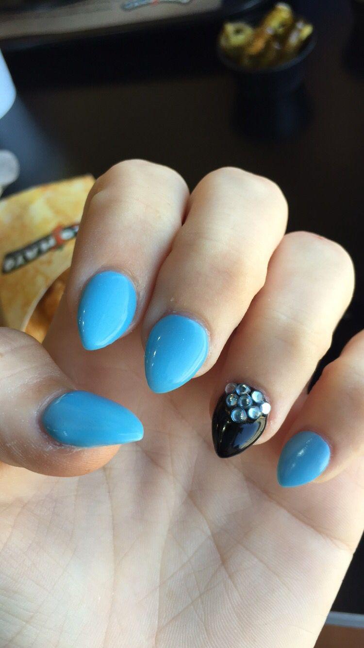 Short Stiletto Baby Blue Black Nails Glitter Nails Acrylic Stiletto Nails Short Almond Shape Nails