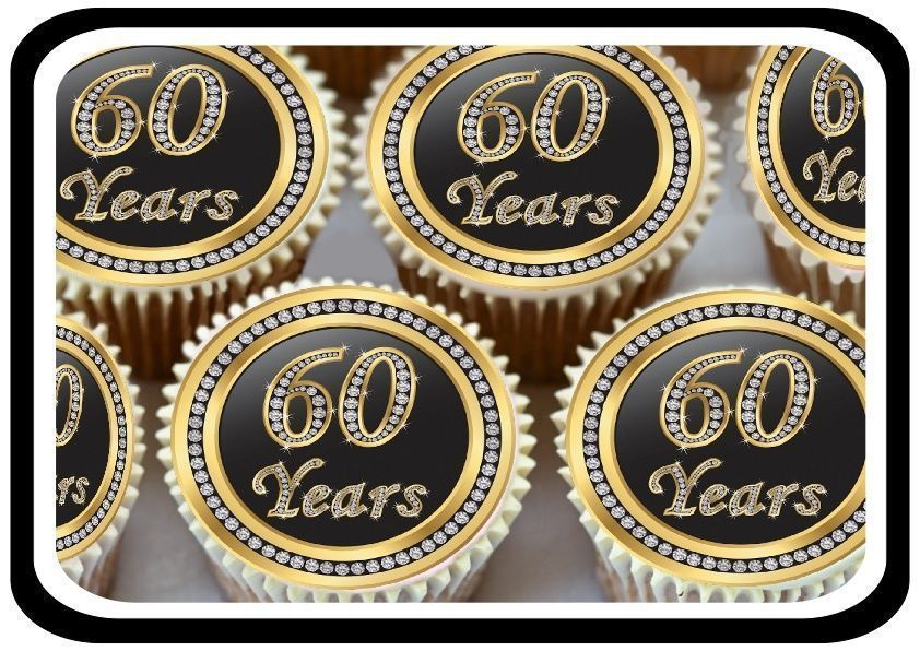 30 Gold 60Th Birthday Anniversary Edible Cupcake Toppers Thick Rice