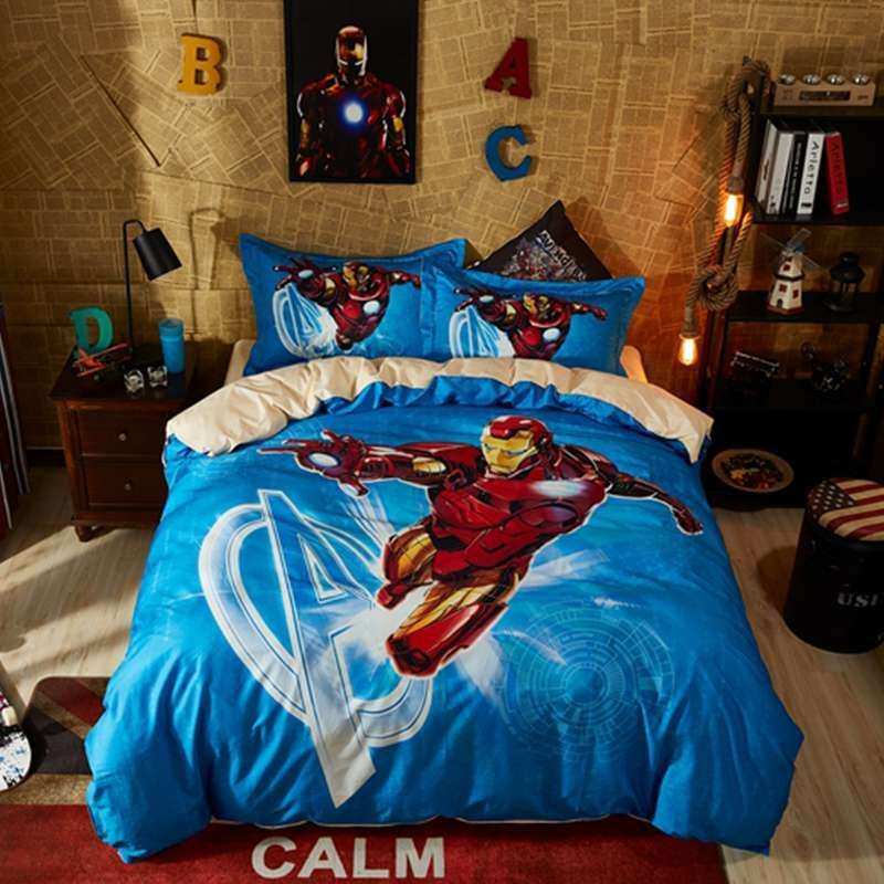 Marvel Iron Man Comforter Set Twin Queen Size Super Heroes Bedding Queen Size Bed Sets Queen Size Comforter Boys Duvet Cover