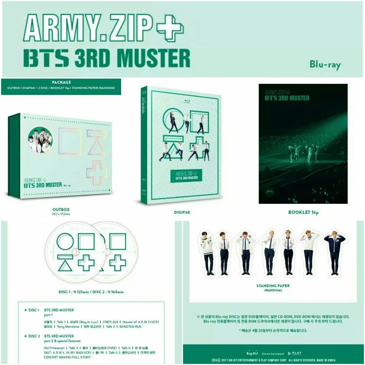 BTS 3RD MUSTER 'ARMY ZIP+' DVD Blu-ray~ Includes: 2 Disc