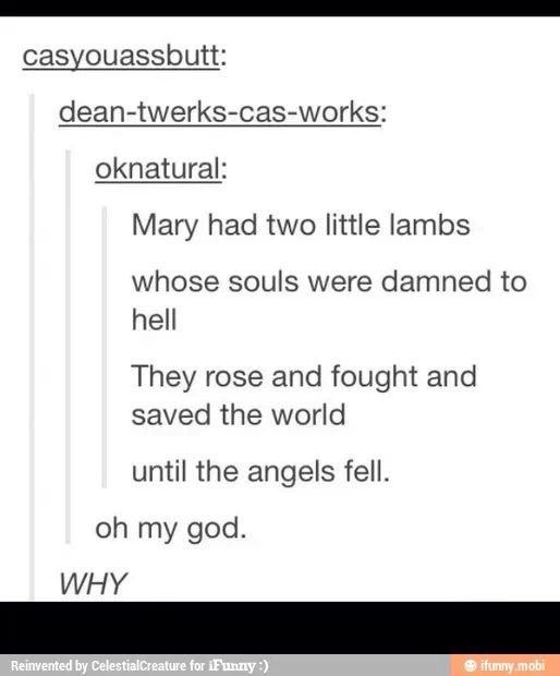 mary had two little lambs whose souls were damed to hell, they rose and fought and save the world until the angels fell