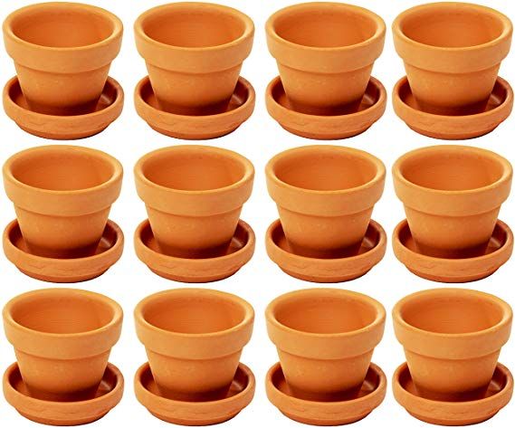 12 21 2 7 H Amazon Com Juvale Small Terra Cotta Pots With Saucer 12 Pack Clay Flower Pots With Sauc In 2020 Clay Flower Pots Small Terracotta Pots Succulent Display