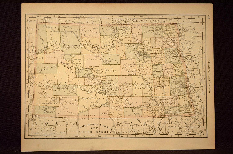 Antique North Dakota Map North Dakota Original Hand Colored