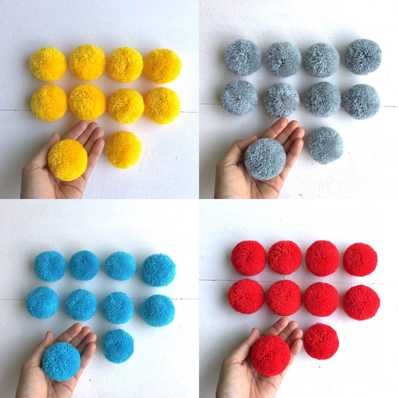 """2"""" cotton yarn pom pom 💚❤💙💜"""