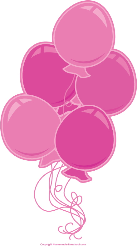 Balloons pink. Free birthday clipart