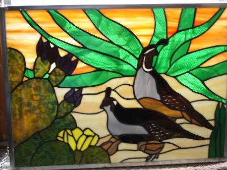 Quails in the desert | Animals Birds - Stained Glass ...