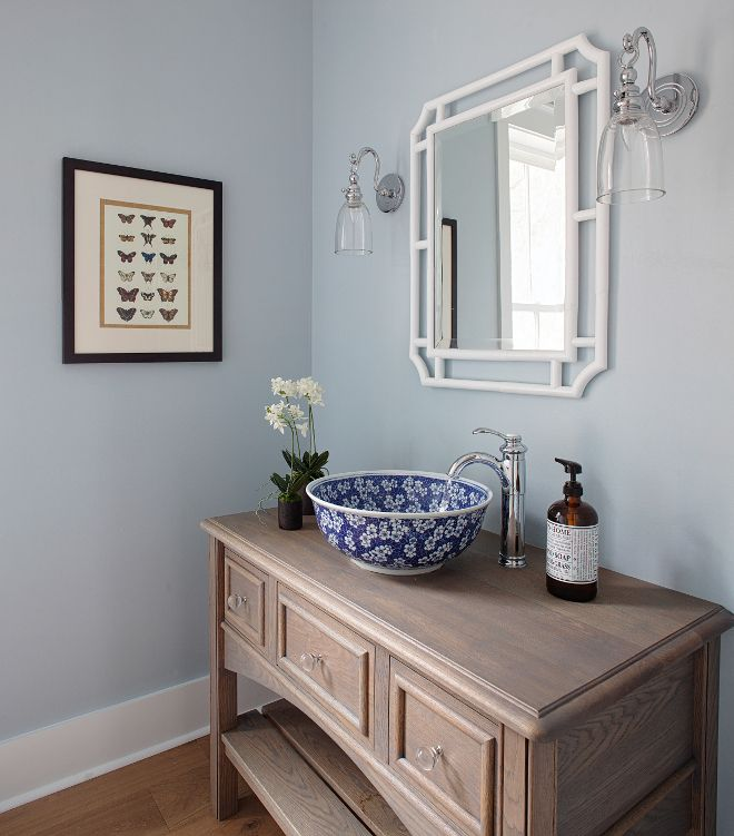 Paint Color Is Sherwin Williams Sw 6225 Sleepy Blue Sink Overstock Legion Furniture Blue White Por Bathroom Colors Sherwin Williams Paint Colors Interior