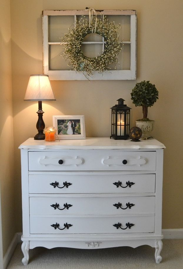Distressed white dresser/hallway storage/window frame with wreath