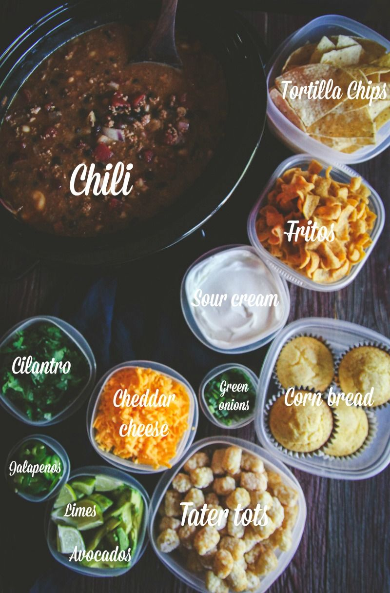 How to make a slow cooker chili bar for a party - Sweetphi
