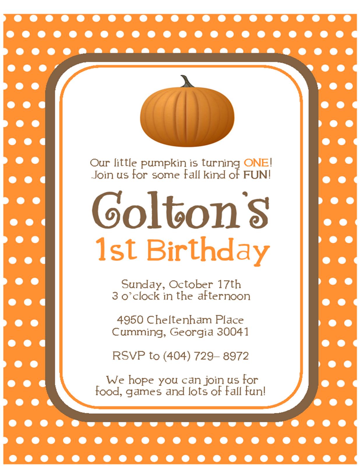 Cute idea for October birthday invitations