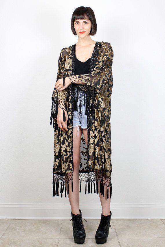 Vintage Black Gold Kimono Jacket Burnout Velvet Sheer Black Draped ...