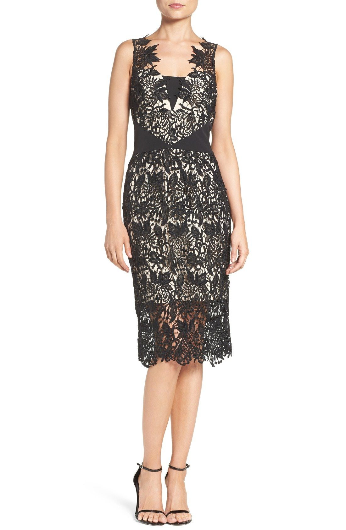 Shoshanna \'Kendall\' Guipure Lace Midi Dress available at #Nordstrom ...