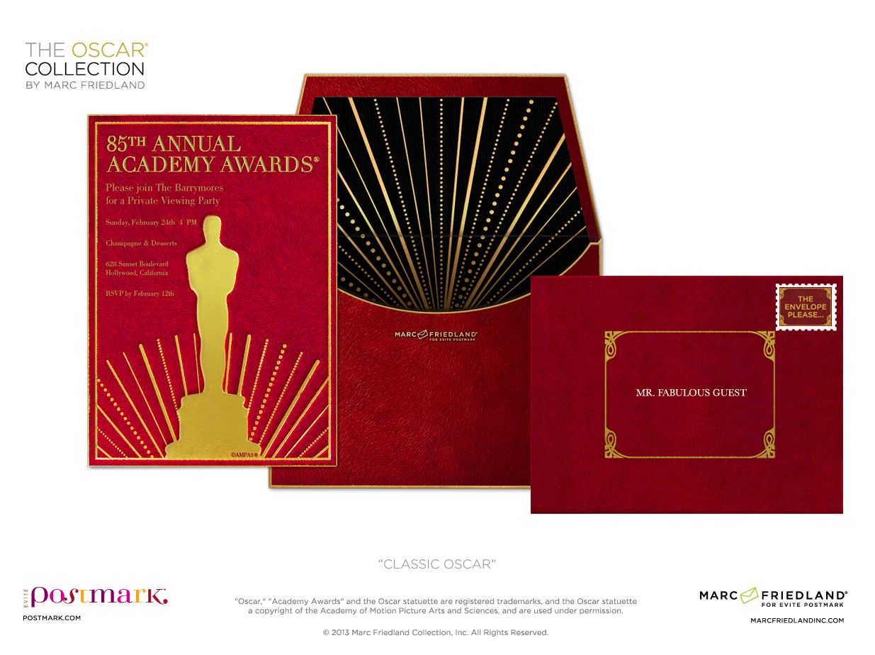 This ultra luxe Oscar invite is the perfect way to get your viewing ...