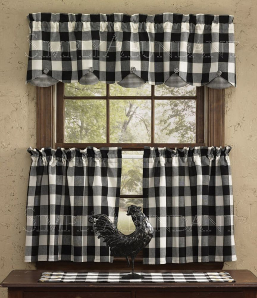 "Devon Scalloped Valance By Park Designs, 72"" X 14"", Black & White Buffalo Check"