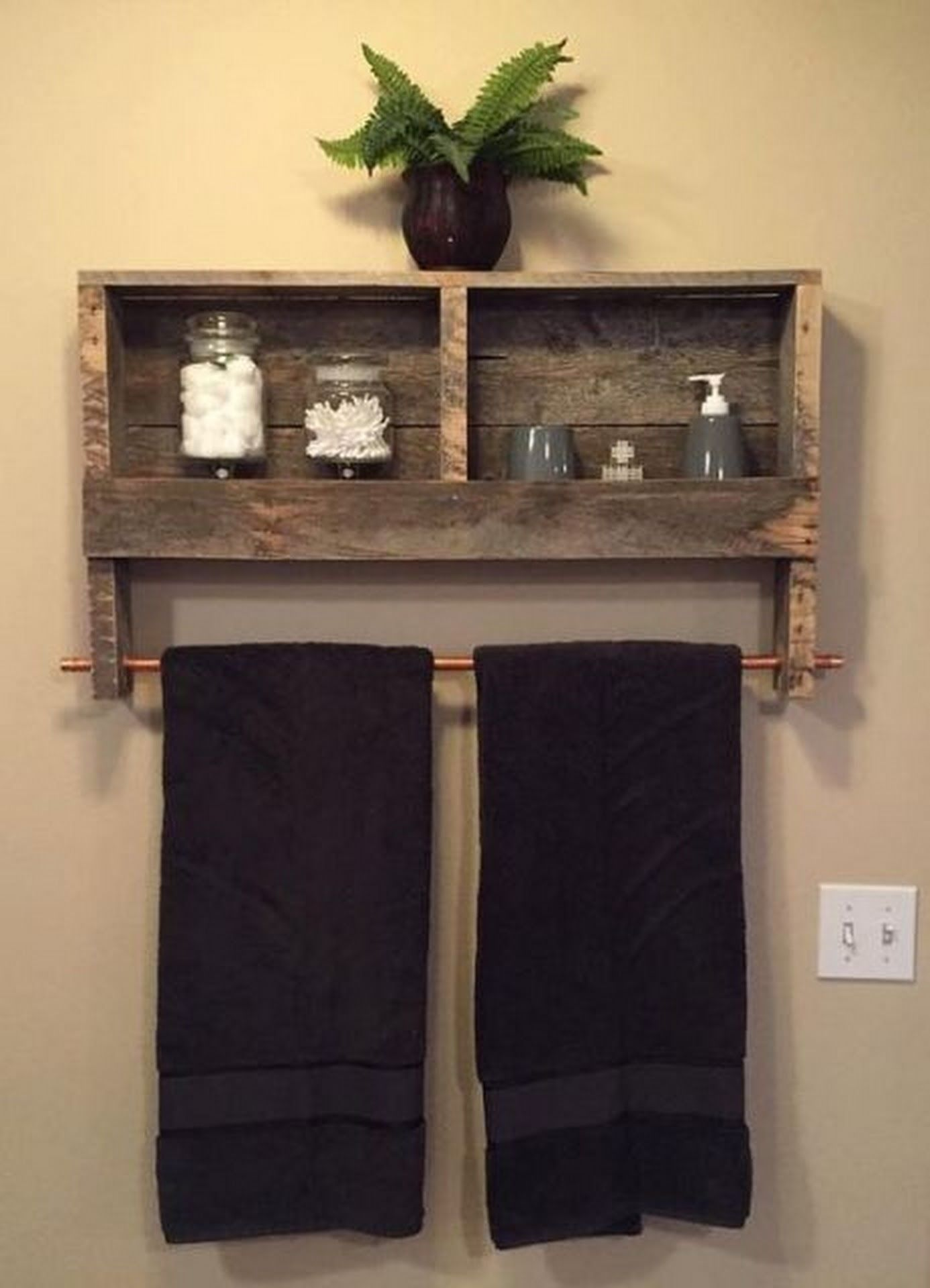 Custom Reclaimed Wood Copper Rod Double Towel Rack Bathroom Shelf Rustic  Home Decor Pallet Furniture Towel Rack by BandVRusticDesigns on Etsy