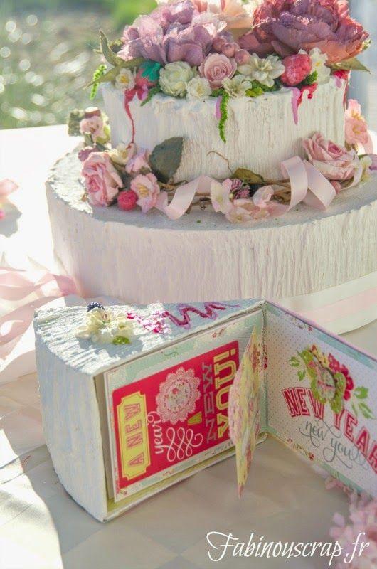 Pour tes beaux yeux...le Scrap de Fabinou: Tutoriel: pièce montée centre de table et parts de gâteau mini-album et boîte
