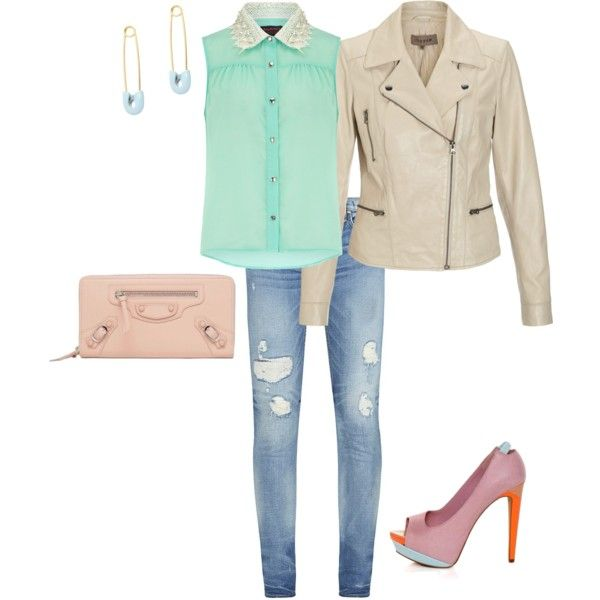 """""""Candy Mint"""" outfit with gorgeous #pumps and nice light rose #clutch. All items are #forsale"""