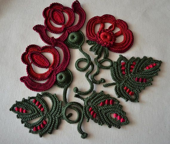 Burgund Blume Clipart Set handgemachte 3d Blume häkeln dekorative Applikationen Hochzeit Applikation 10 Stück #irishcrochetflowers