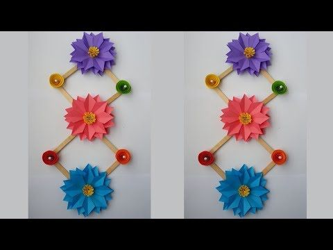 Diy wall decoration idea how to make beautiful flower hanging for also rh pinterest