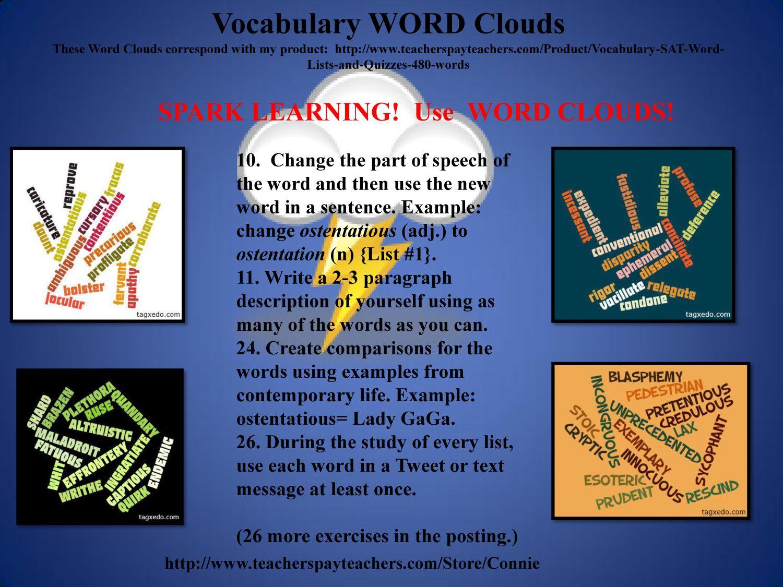 SAT Vocabulary WORD Clouds. http//www.teacherspayteachers