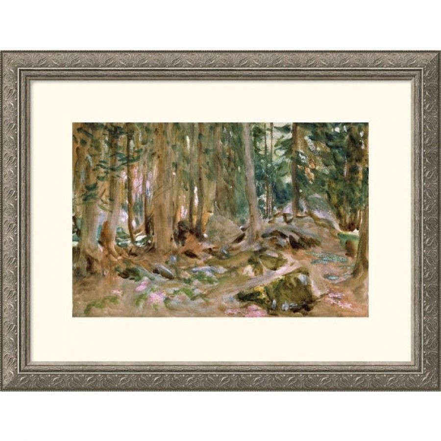 Great American Picture Pine Forest Silver Framed Print - John Singer Sargent - 205360-Silver