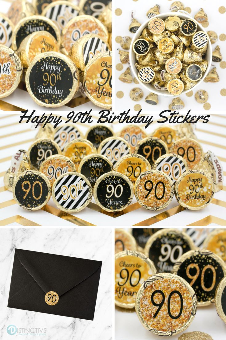 Black and gold 90th birthday party favor stickers set of for 90th birthday decoration ideas