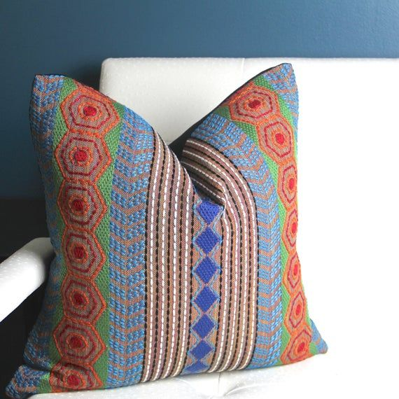 READY to SHIP 20x20 Colorful Boho Pillow Cover - African Pillow Cover - Designer Pillow - Multicolor