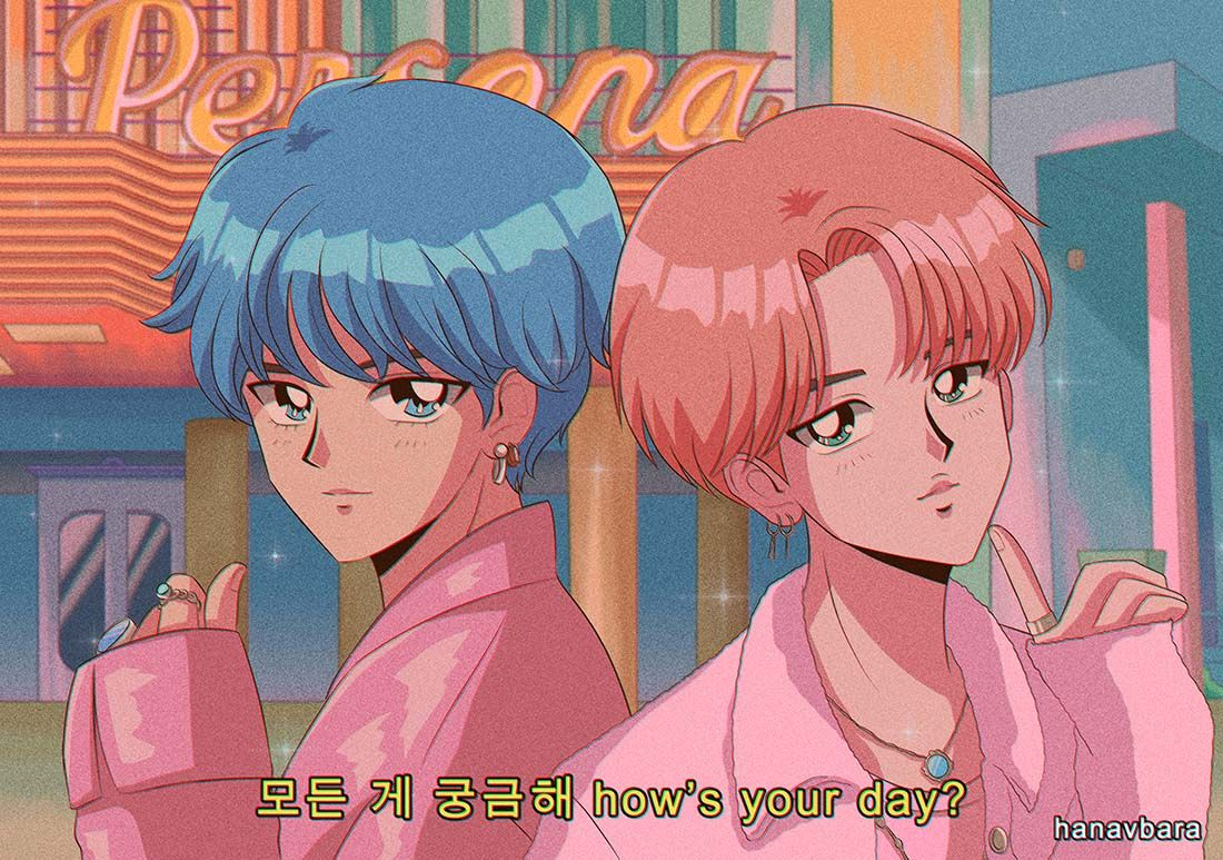 Boy with luv feat. Halsey Bts chibi, Anime version, 90s
