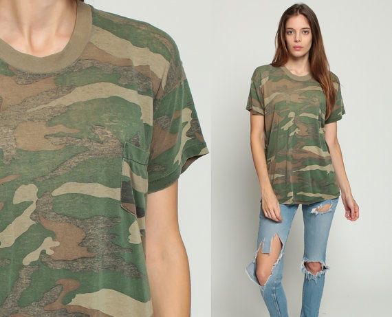 Camo T Shirt Army TShirt DISTRESSED Camouflage Shirt 80s Green Military  Burnout Paper Thin Grunge Hipster