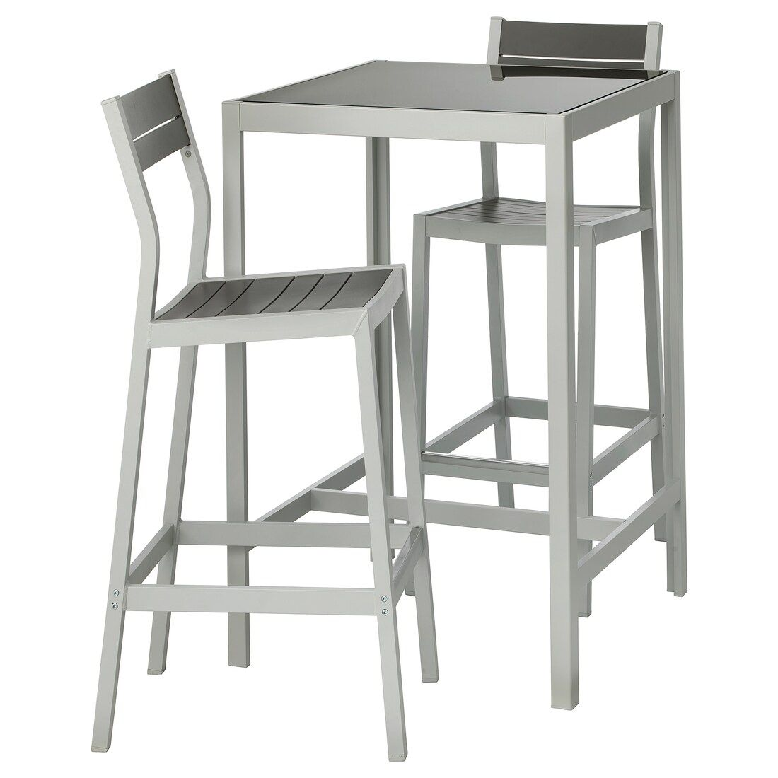 Sjalland Table Bar Et 2 Tabourets Exterieur Verre Gris Gris Clair Ikea In 2020 Bar Stools Bar Table Outdoor Bar Stools
