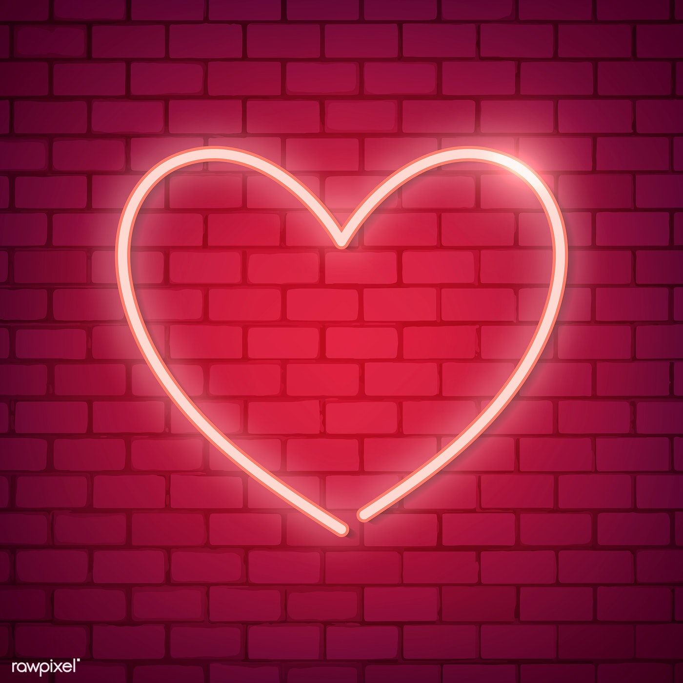 Neon light heart icon on red background free image by