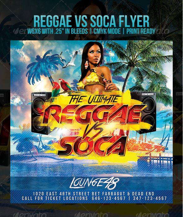 Reggae Vs Soca  Flyer Template Template And Fonts