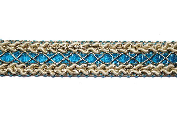 Ruban Bleu Beige Lurex Doré 15 cm x 1 m