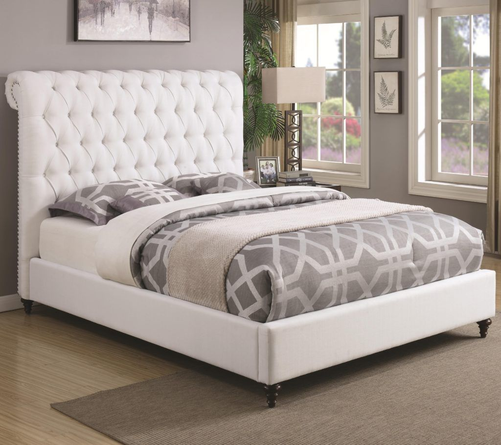White Fabric Queen Bed Frame Upholstered Beds Upholstered