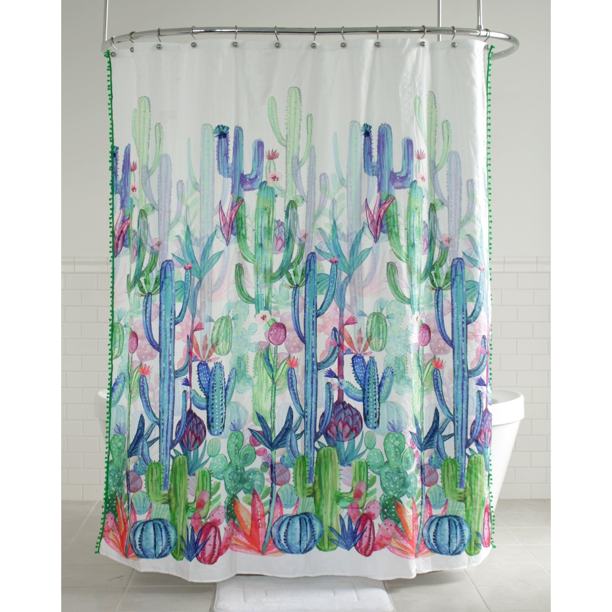 Splash Home Gobi Cactus Polyester Fabric Shower Curtain Multi