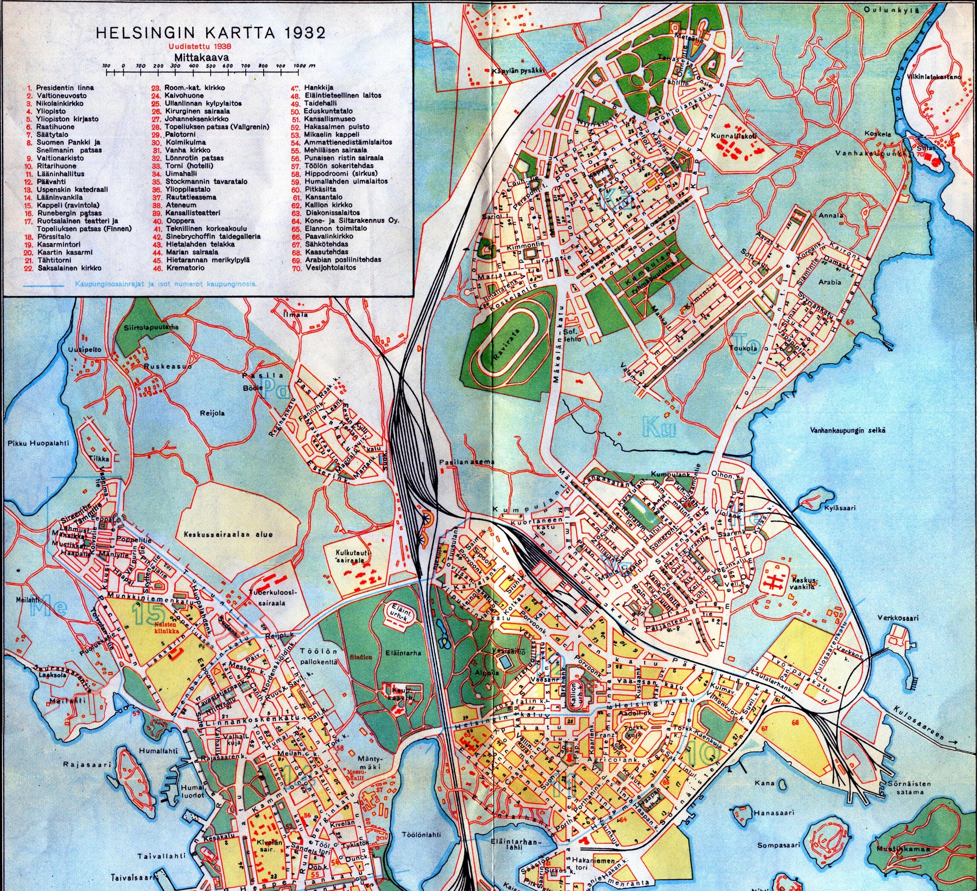 Helsingin Kartta 1932 Pohjoinen Helsinki Historical
