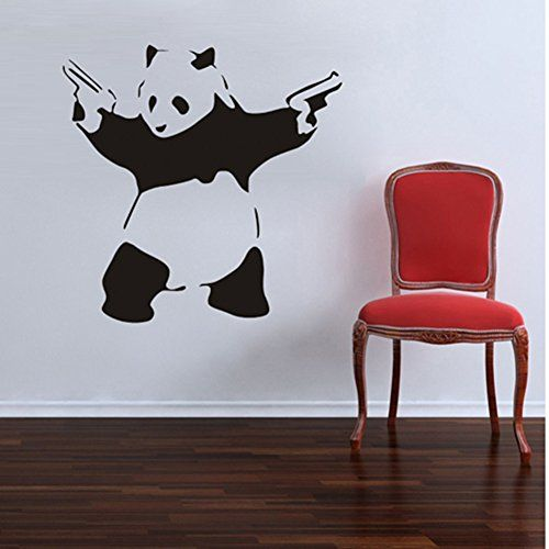 X Large Cool Crazy Panda Gun Shooting Wall Stickers Decals DIY Removable  Wall Mural Decor Graphic Lovely Silhouette Art For Baby Nursery Teen Girls  Boys ... Part 51