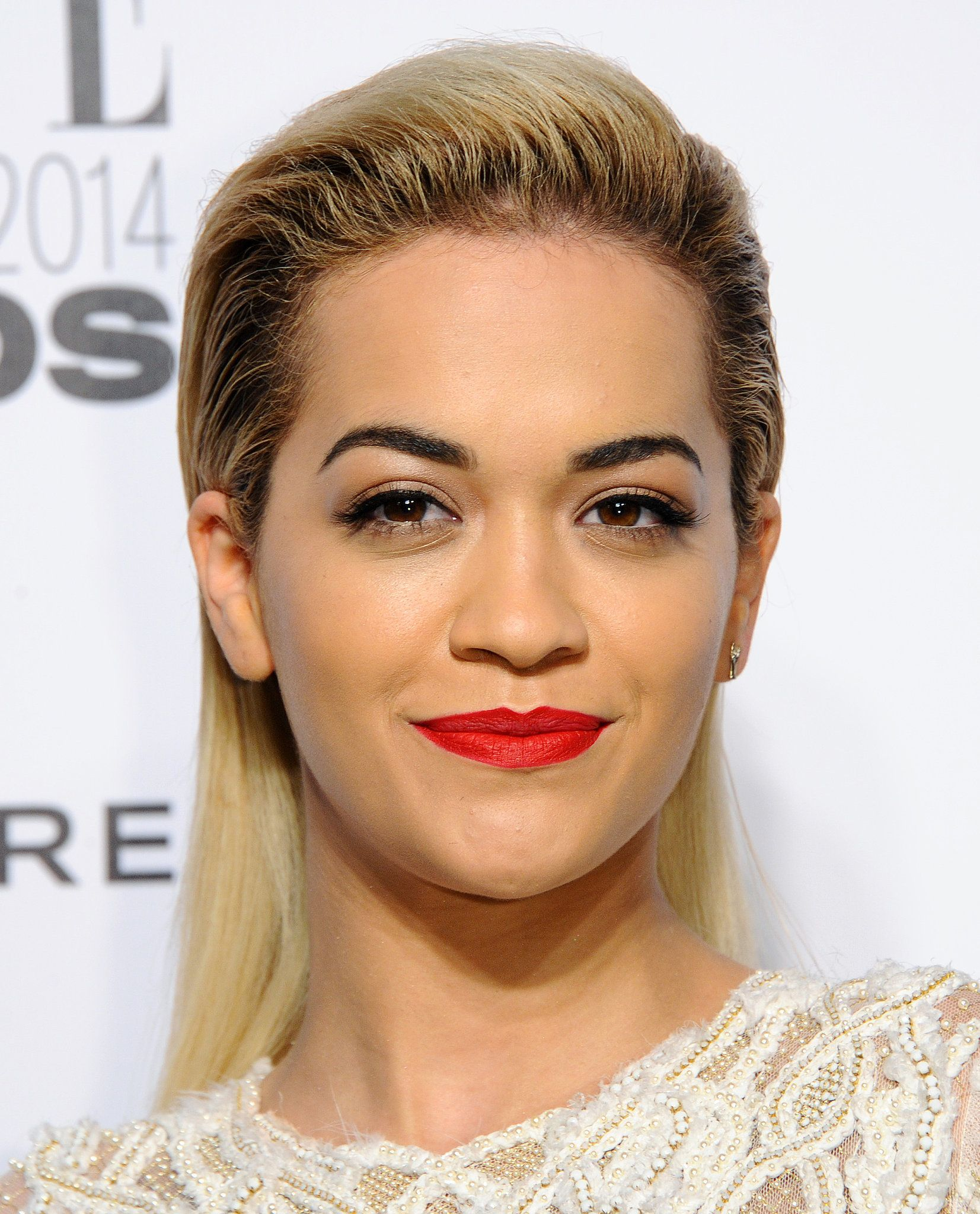 rita ora   hairstyles, red lips and beauty