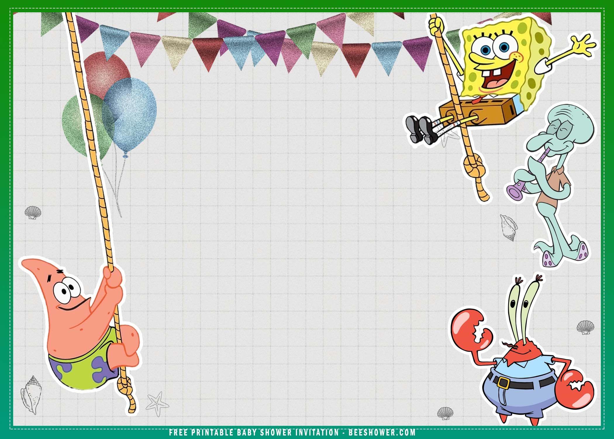 Free Printable Spongebob Squarepants Baby Shower Invitation Birthday Card Printable Free Printable Baby Shower Invitations Baby Shower Invitation Templates