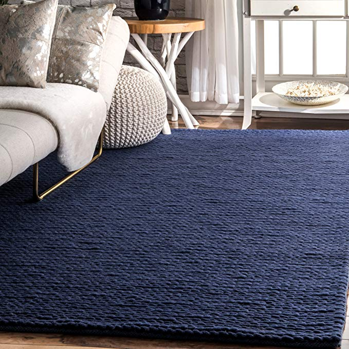Amazon Com Nuloom 200cb01c 8010 Caryatid Handwoven Solid Wool Rug 8 X 10 Navy Kitchen Dining Navy Rug Living Room Wool Area Rugs Navy Blue Rug