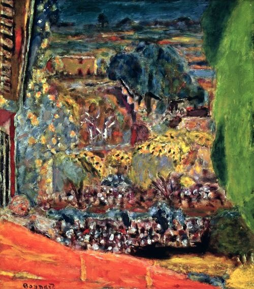 The Red Roof at Le Cannet (1945)-Pierre Bonnard